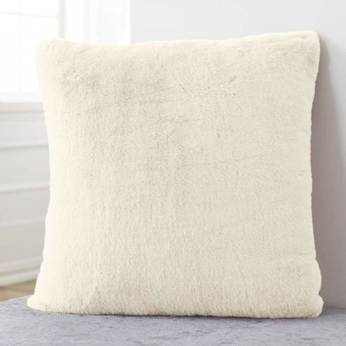 Large Luxury Faux Rabbit Fur Soft Plush Filled Cushion Plain Cream 56cm x 56cm